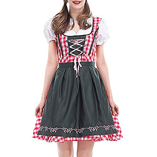 Togethor Dirndl Dress 2PC Women Bandage Bavarian Oktoberfest Costumes Maid or Pioneer Outfit Costume with Ladies Apron Red -