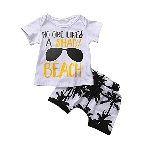 Infant Baby Boys Summer Casual Clothes Set Beaches Love Me Vest Tops +Shorts (White#2, 2-3 Years) -
