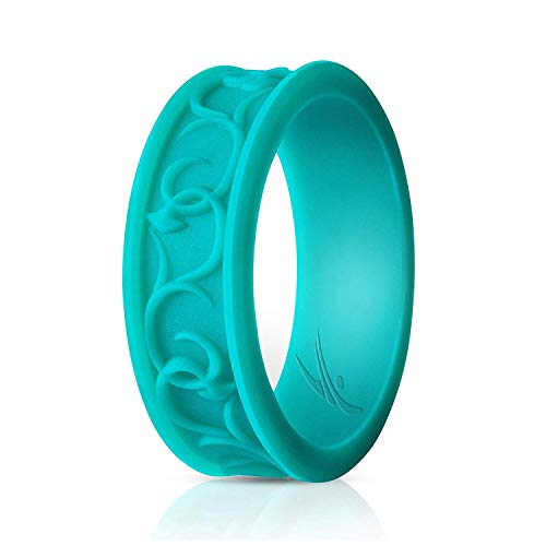 (ROQ Silicone Wedding Ring for Women - Ornament Silicone Rubber Wedding Band - Turquoise Colors - Size 5)