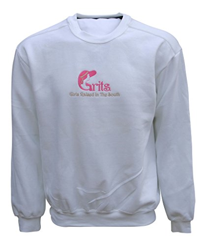 Price comparison product image Grits Womens Girls Raised In The South Sweatshirt X-Large White