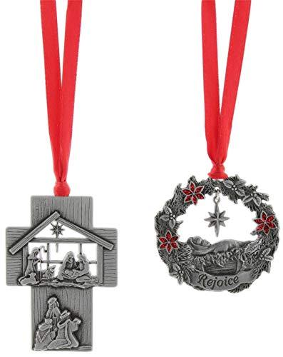 (Christian Tools of Affirmation Pewter Christian Ornament Set of 2 - Nativity Scene Cross & 'Rejoice' Wreath)