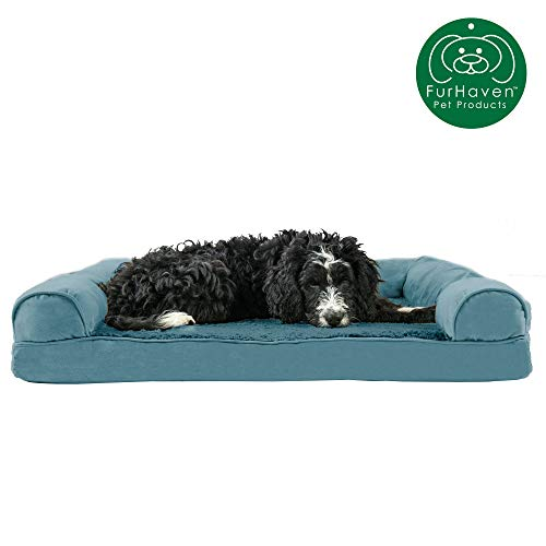 Furhaven Pet Dog Bed   Memory Foam Ultra Plush Faux Fur & Suede Traditional Sofa-Style Living Room Couch Pet Bed w/ Removable Cover for Dogs & Cats, Deep Pool, Large (Best Mid Size Dogs For Pets)