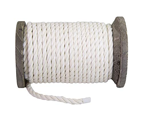 Ravenox Colorful Twisted Cotton Rope   (White)(1 Inch x 250 Feet)   Made in The USA   Custom Color Cordage for Sports, Décor, Pet Toys, Crafts, Macramé & General Use   Rope by The Foot & Diameter by Ravenox (Image #6)