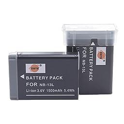 DSTE 2x NB-13L Replacement Li-ion Battery for Canon PowerShot G5X G7X G9X G7 X Mark II G9X Mark II SX620 HS SX720 HS Digital Camera as NB13L