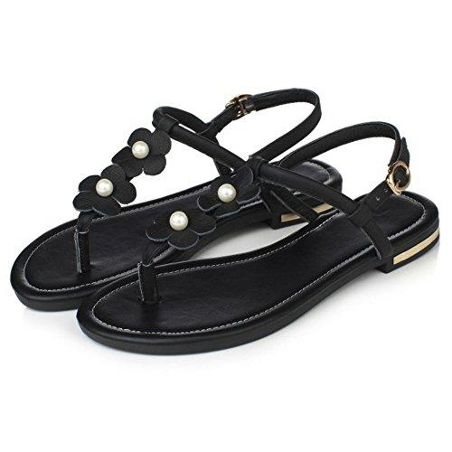 COOLCEPT Damen Mode-Event Knochelriemchen Flops Slingback Flach Flip Flops Schuhe Schwarz