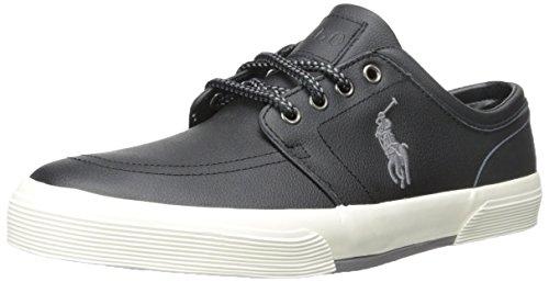 Men's Faxon Leather Fashion Sneaker,Black,9.5 D US
