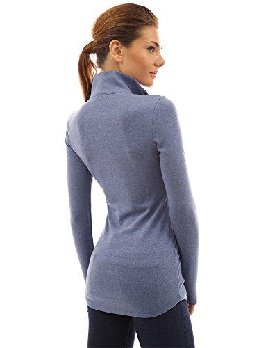 PattyBoutik Mujer zip bolsillo de la guerrera azul jaspeado
