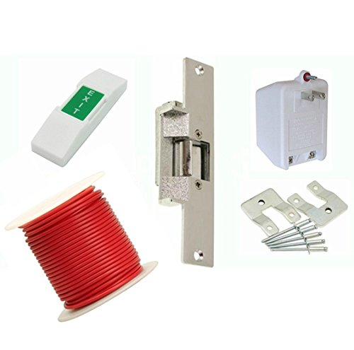 LEE 14-DLC Commercial Electric Strike Door Lock Kit (For Wood Doors) Lock Set Includes All Standard Buzz In Lock Hardware +50FT. Electronic Buzzer Cable Includes Exit Button & Low Power Consumption Supply Kit (Compatible With Proximity Door Entry Keypad) by LEE ELECTRIC, INC.