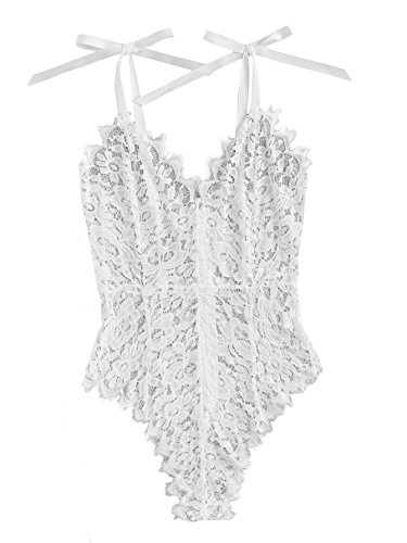 Floral Lace Tie - DIDK Women's Ribbon Tie Shoulder See Though Floral Lace Bodysuit White M