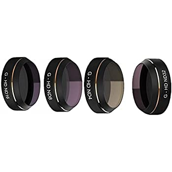 Hooshion 4 in 1 RC Quadcopter Lens Filter Accessories ND4 8 16 32 HD Filter Set for DJI MAVIC Pro Camera Lens UV Circular Polarizer Neutral Density Filters Parts (G-HD ND4+ND8+ND16+ND32)