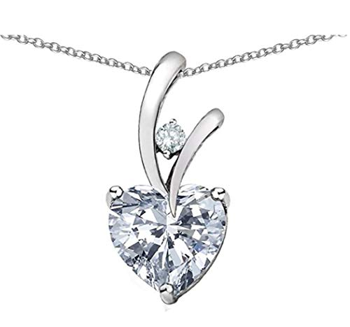 Sterling Silver Heart Pendant Necklace 16 inch Simulated Diamond Heart Necklace Great Gift #SSNK16-6S - Heart Simulated Diamond Sterling Pendant