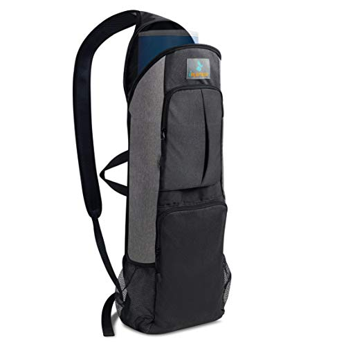 Imarana Yoga Mat Bag | Yoga Carrier Backpack with Versatile Storage Mesh and Zipper Pockets (Grey)
