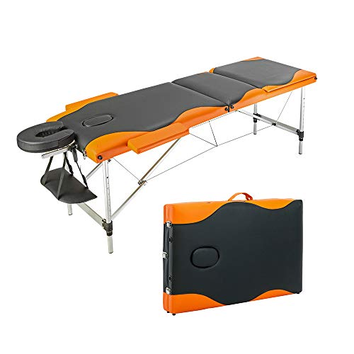 FCH Massage Table 3-Section Portable Folding Massage Table Couch Bed Spa, PVC Leather Surface & Thick Sponge Massage Table for Barber Shop, Beauty Salon, Home. (Black and Orange)