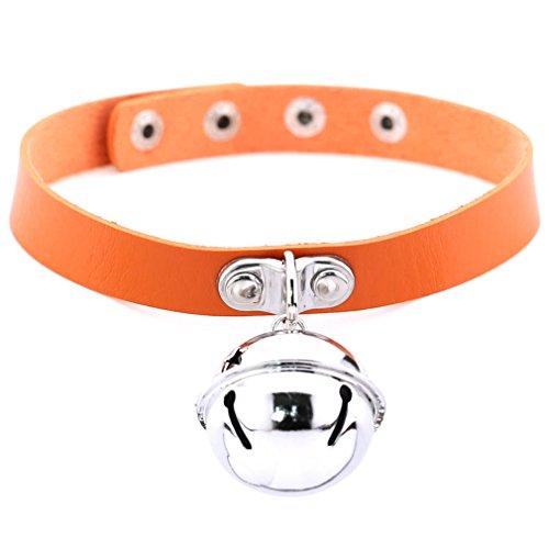FM FM42 Orange Simulated Leather PU 4cm Large Bell Pendant Neckband Choker Necklace PN1858