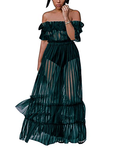 XAKALAKA Women's Sexy Lace Off Shoulder High Wasit Flared Mesh Club Maxi Dress Green M