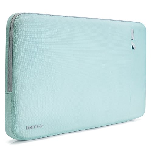 Tomtoc 360° Protective Sleeve Case for Apple 15 Inch New MacBook Pro with Touch Bar (A1707), Shockproof Spill-Resistant 15 Inch Laptop Bag Tablet Case, Support up to 13.75 x 9.48 In, Mint Blue - Plush Lining