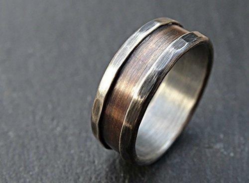 (bronze ring silver, bronze wedding band, alternate mens wedding band, rustic silver ring bronze rustic wedding ring, men's engagement ring, anniversary gift, mixed metal ring)