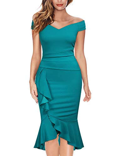 Knitee Off Shoulder V-Neck Ruffle Pleat Waist Bodycon Evening Cocktail Slit Dress,Large,Acid Blue