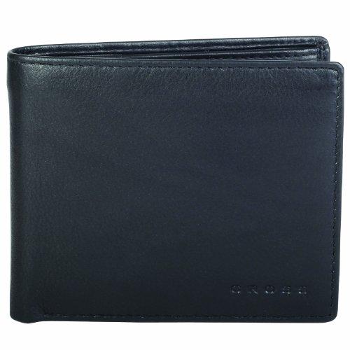 Cross (R) Genuine Leather Men's Bifold Coin Wallet - Black