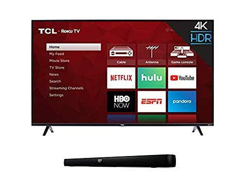 TCL 55S425 55 inch 4K Smart LED Roku TV (2019) with 7 2.0 Channel Home Theater Sound Bar with Built-in Subwoofer - TS7000, 36