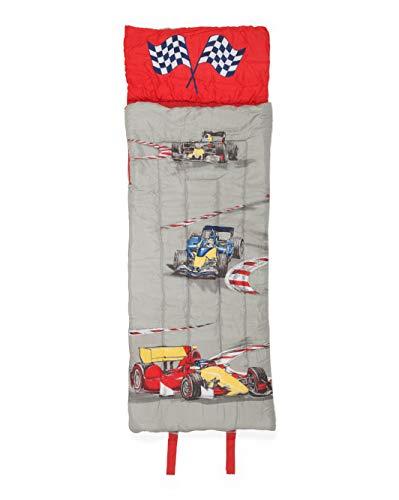Boy Zone Race Cars Sleeping Bag, Indy Car Grand Prix Theme for Use as Nap Mat, Slumber Mat, Sleeping Bag