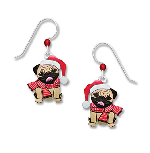 Sienna Sky UV-Printed Pug Dog Santa Holiday Earrings 1985 - Spirit Halloween New Orleans