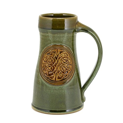 - 32oz Tankard Beer Mug with the Celtic Knot emblem and Cascade Green Glaze