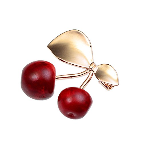 Pin Brooch Stylish (Shinywear Diamond Cherry Brooch Pins for Scarf Hat Lapel Pins Decorative Women Safety Pin Birthday (Gold))