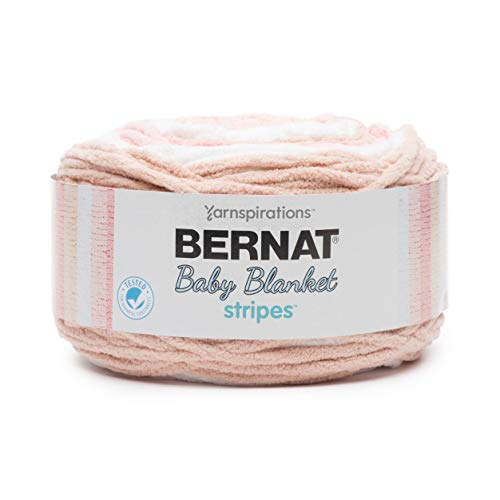 (Bernat Baby Blanket Stripes  Fabric, Coral Bells)