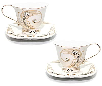 Royal Porcelain 2pc Rococo Swarovski Collection White Tea / Coffee 8-Oz Cup or Mug Set, 24K Gold-Plated Ornament