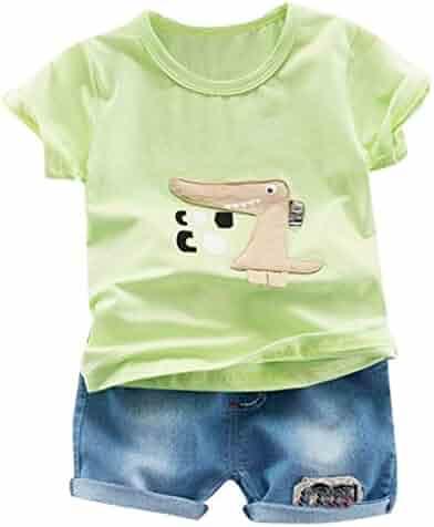 ecf090cbcb72 Yikey Boy Set, Toddler Baby Boys Cartoon Print T Shirt Tops Jeans Short 2PC  Outfits