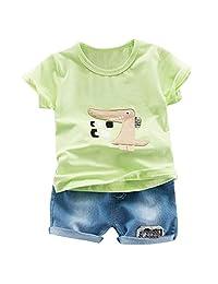 Fanteecy Boys Pajamas Cotton Dinosaur Summer Short Set Toddler Clothes Kids Pjs Sleepwear 2 Pcs Short Sleeve Tee and Shorts