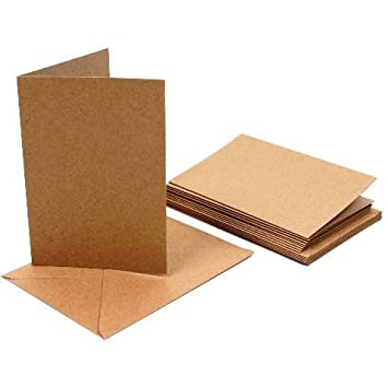 Pack of 50 Papermania A6 Recycled Kraft Blank Card and Envelope