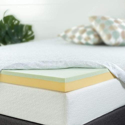 Zinus 4 Inch Green Tea Memory Foam Mattress Topper, Full (Renewed) (Spa Sensations Mattress Topper)