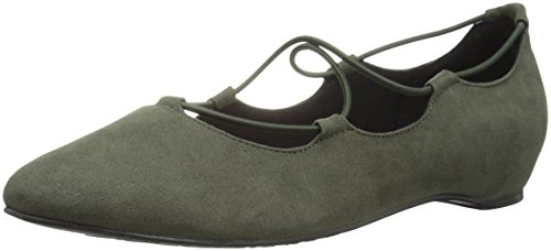 Zachte Stijl Hush Puppies Dames Colleen Platte Olive Night Faux Suede