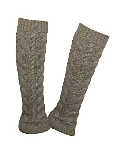 Dahlia Women's Cable Knit Leg Warmers - Khaki