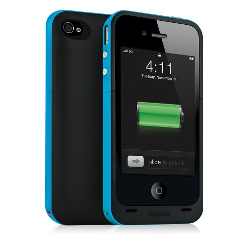 Mophie Juice Pack Plus Case and Rechargeable Battery for iPhone 4 & 4S Retail Packaging (Cyan)