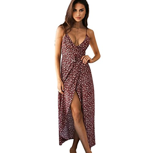 Hot Sale!!! 2018 New Ladies Evening Party Dress, Balakie Women Sexy V-Neck Sleeveless Floral Print Beach Dresses (XL, Red)
