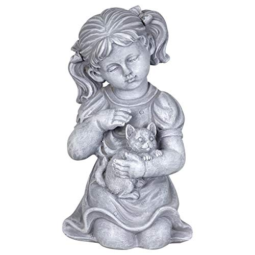 - Exhart Child & Kitten Garden Statue - Imitation Stone Statue of Little Girl & Cat - Child Art Resin Decor Best for Porch, Yard, Patio, and Garden, 10