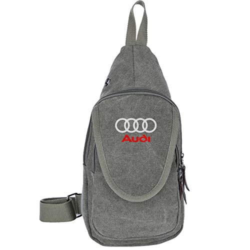 KAIFENG Geek Outdoor Personalized Audi Logo Funny Canvas Multipurpose Daypacks For Men Moss Green