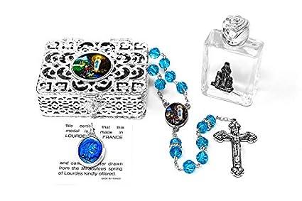 Bottle of Lourdes Holy Water /& Lourdes Crystal Rosary Beads Catholic Gifts