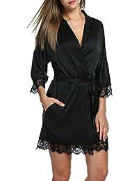 Women's Bathrobes Short Kimono Robe Bridesmaids Satin Sleepwear Silky Lace Trim Lingerie With Oblique V-Neck