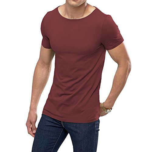 OA ONRUSH AESTHETICS Men's Muscle Fit T-Shirt with Boat Neck Stretch Tee in Wine Red (Jersey Boy Wine)