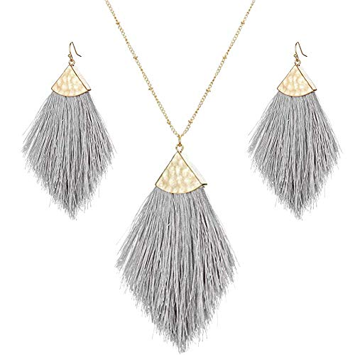 - Tassel Fringe Earrings Necklaces Set Boho Statement Drop Colorful Fan Feather Shape Thread Dangle Earrings Long Necklace for Women (Silky Jewelry Set-Gray)