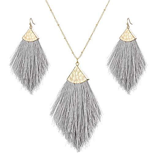 Tassel Fringe Earrings Necklaces Set Boho Statement Drop Colorful Fan Feather Shape Thread Dangle Earrings Long Necklace for Women (Silky Jewelry Set-Gray)