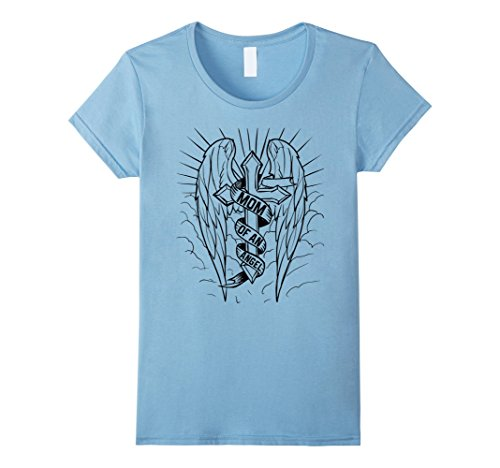 Womens Mom Of An Angel Shirt - Angel Wings T Shirt Small Baby Blue
