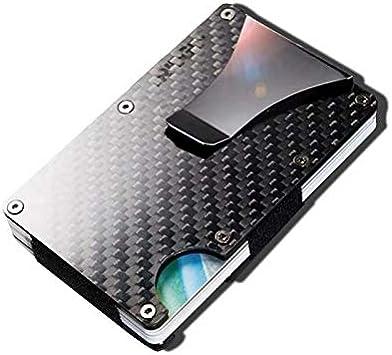 Money Clip Carbon Fiber Metal Wallets for Men Credit Card Holder RFID Front Pocket Slim Mens Wallet Black