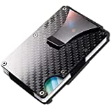 Carbon fiber Credit card holder with metal Money clip - RFID Blocking slim Metal Wallet purse for Men & Women (Carbon…