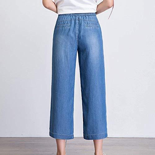 Pantaloni Jeans Donna Casual Larga Tasche Dunkel Gamba Alta Vita Abbigliamento Aderenti Da Laterali A Blau Larghi 0qw01ArH