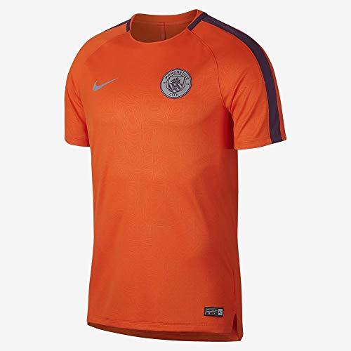 Nike 2018-2019 Man City Pre-Match Training Football Soccer T-Shirt Jersey (Orange)